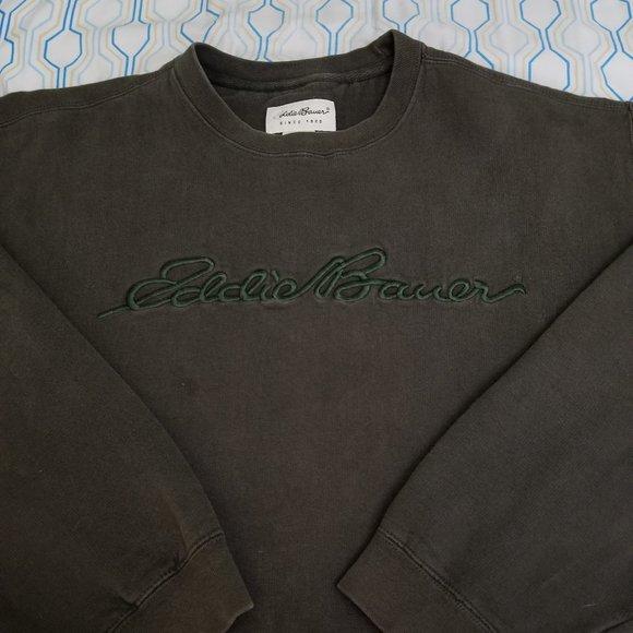Vintage Eddie Bauer Sweatshirt Crewneck Green Logo